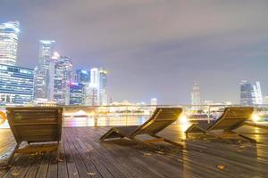 Benches on the boardwalk in Singapore