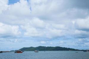 Ships at sea, and a large island