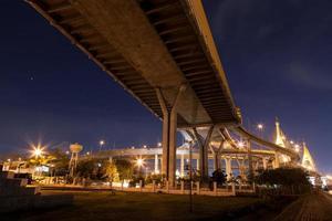Bhumibol Bridge in Bangkok at night