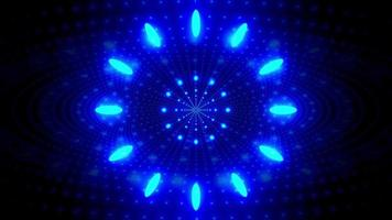 Glowing blue neon points 3d illustration kaleidoscope design for background or wallpaper
