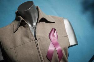 Ribbon cancer sign on shirt photo