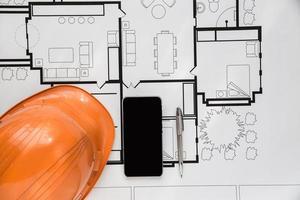 Top view of engineer blueprint plan photo