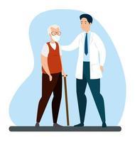 anciano con mascarilla y doctor