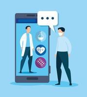 tecnología de medicina en línea con teléfono inteligente y hombre enfermo vector