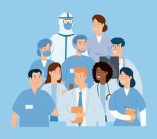 group of doctors fighting coronavirus vector
