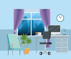 workplace with desk and computer background vector