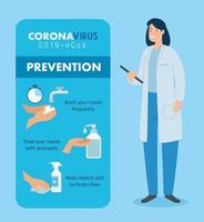 Female doctor for prevention of coronavirus vector