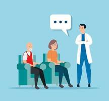 linda pareja de ancianos hablando con un médico