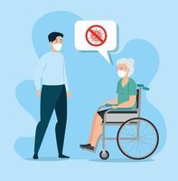 anciana y joven hablando de coronavirus