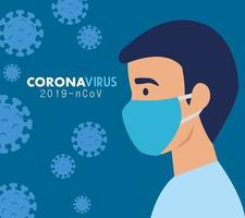 man with face mask for coronavirus vector