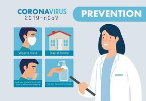 doctora para la prevención del coronavirus vector