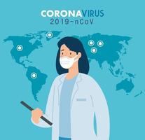 Female doctor for prevention of coronavirus vector