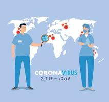 Covid 19 banner with nurses vector