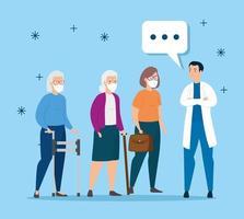 ancianas con mascarillas hablando con un médico