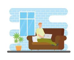 man working from home in living room vector