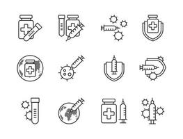 Covid-19 vaccine icon set outline style.  Sign and symbol for websit, print, sticker, banner, poster. vector