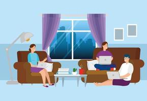 people working from home in living room vector
