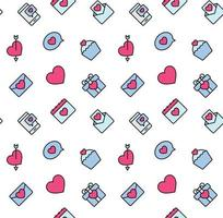 Patrones de San Valentín sin fisuras con corazones y símbolo de San Valentín. utilizado para textil, tela, fondo. vector