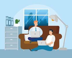Men working from home in living room vector