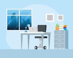 lugar de trabajo con escritorio y fondo de computadora portátil vector