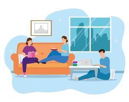 La campaña se queda en casa con la gente en la sala de estar.