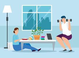 Campaña estancia en casa con pareja en la sala de estar.
