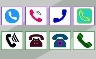 conjunto de iconos de colores de teléfono con diferentes estilos vector