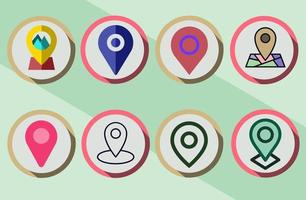 Set of colorful Map Pin icons with different color and style vector