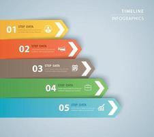 Plantilla de índice de papel de pestaña de infografías de 5 datos. ilustración vectorial resumen de antecedentes. se puede utilizar para el diseño de flujo de trabajo, paso empresarial, banner, diseño web. vector
