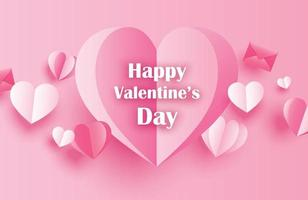 Happy valentines day greeting cards with paper hearts on pink pastel background. vector