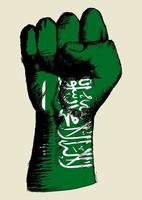 Sketch illustration of a fist with Saudi Arabia insignia. Spirit Of A Nation vector