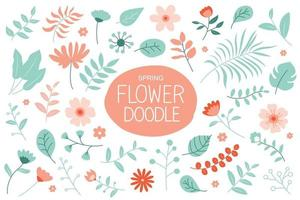 Spring flowers set with pastel color. Floral and leaves elements collection. vector