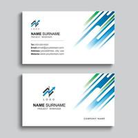Minimal business card print template design. Blue and green color simple clean layout.