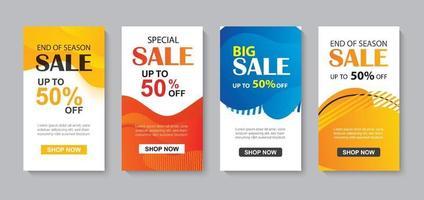 Conjunto abstracto líquido moderno para la plantilla de banners de venta. uso para folleto, diseño de oferta especial de descuento, fondo de promoción. vector