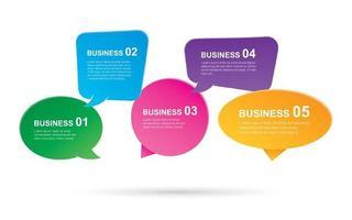 infografías con bocadillos para texto dentro de la plantilla. se puede utilizar para el diseño de flujo de trabajo, paso empresarial, banner, diseño web. vector