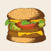 Sketch Illustration Of A Hamburger vector