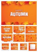 Happy autumn fall set invitation and sale paper art style with leaves on orange background. vector