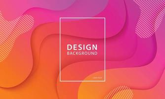 Fluid shape banner design background. Liquid geometric orange and pink gradient template. vector