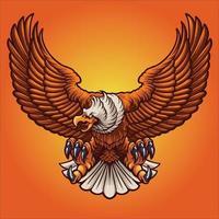 Ilustración de vector de mascota de águila fuerte