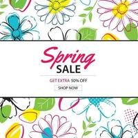 Spring sale poster template with colorful flower background. Can be used for voucher, wallpaper, flyers, invitation, brochure, coupon discount.