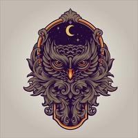 The Night Owl Predator with Ornament Swirl Frame Illustration vector