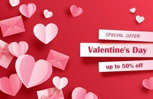 Valentines day sale banner template with paper hearts on red pastel background. Use for flyers, posters, brochures, voucher discount. vector