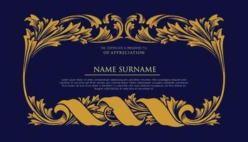 Certificate with Ornament Luxury Frame vector