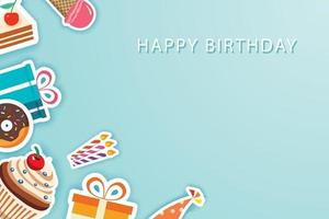 Happy birthday party greeting cards and banner template background with place for your message.