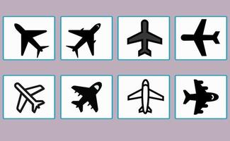 Set of airplane icons, symbols, for various design elements vector