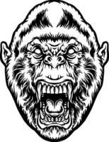 Angry beast gorilla head illustration