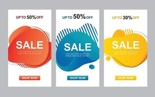 Modern liquid abstract set for sale banners template. Use for flyer, discount special offer design, promotion background. vector
