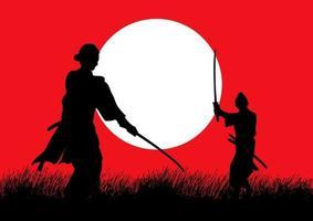 Dos samuráis en posición de duelo uno frente al otro en el campo de hierba vector