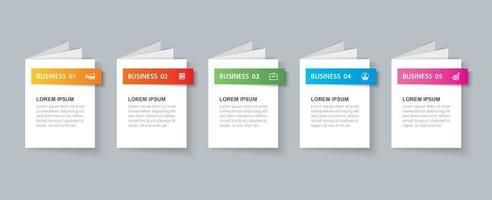 Business infographics book template with 5 data. Can be used for workflow layout, diagram, number options,  web design, presentations vector