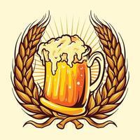insignia de vasos de cerveza con trigo vector